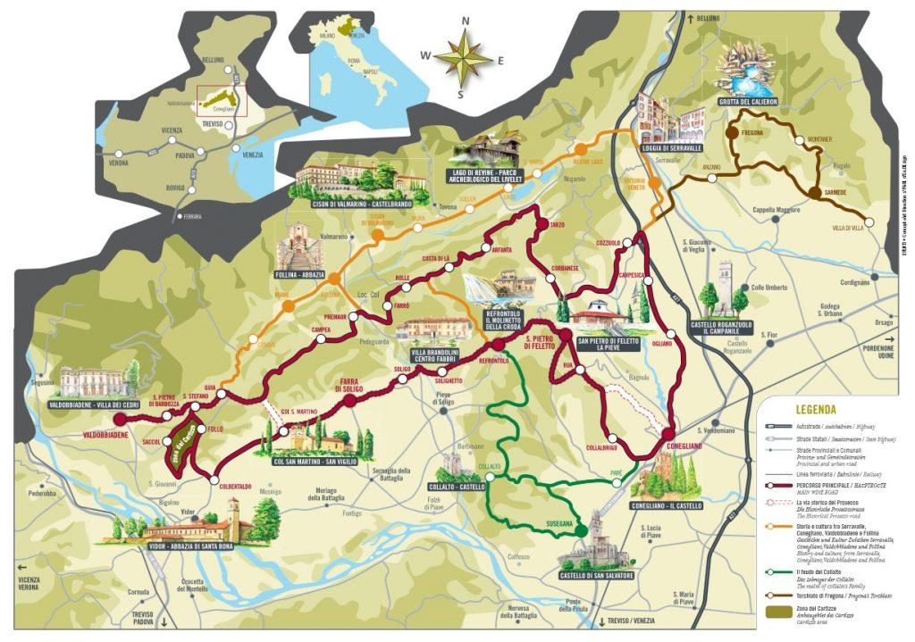 Mapa da Estrada do Prosecco com coloração amarelo esverdeado. A via do Prosecco é marcada por uma linha em vermelho.
