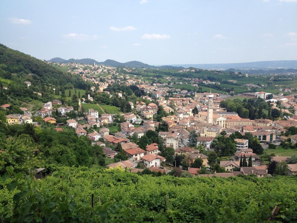 Valdobbiadene, uma linda vista panorâmica com vinhas verdejantes.